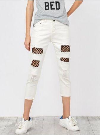 jeans bianchi con finta calza rete
